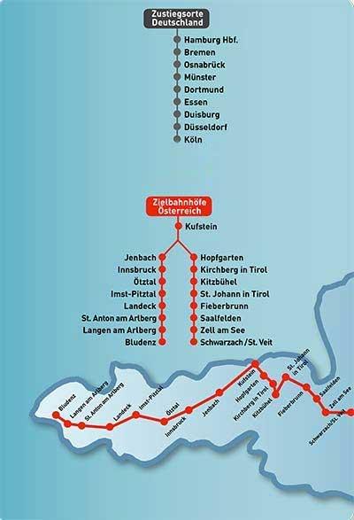 Abfahrts- und Zielbahnhöfe Schnee Express